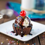 Individual Hot Fudge Brownie Sundae Cups