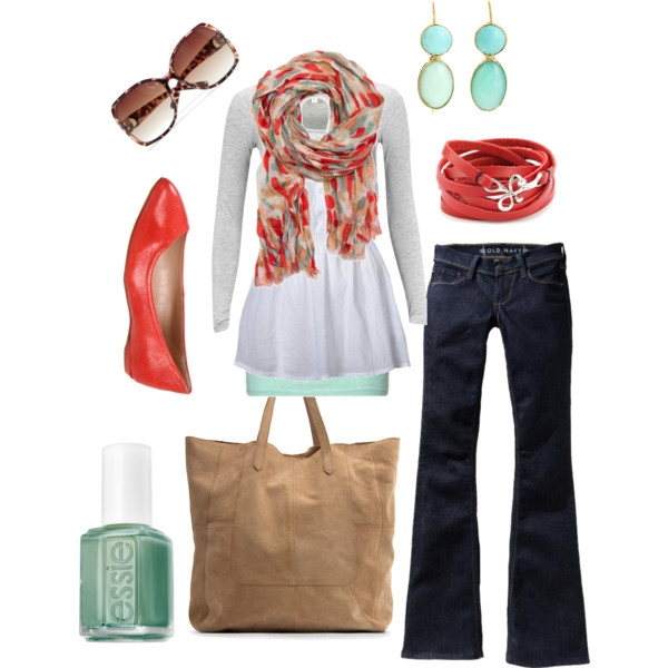Love the teal and red……one can never have enough white shirts:) That scarf rocks.