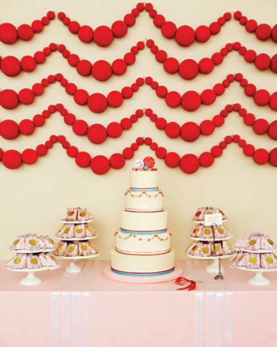 Styrofoam ball garland diy project from Cheree Berry District Weddings