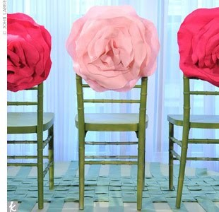 giant rosettes on chairs-