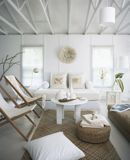 airy white beach living room house and