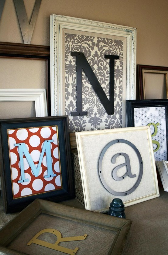 Wall Decor With Scrapbook Paper : Framed letters with scrapbook paper easy and cute