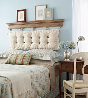 Headboard from shelf and hanging cushion… greatest idea ever!