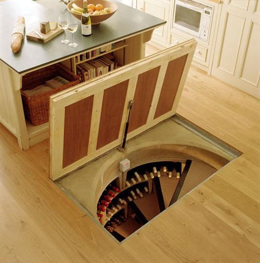 Secret floor door in the kitchen. & Spiral wine cellar. Secret floor door in the kitchen.ApplePins.com