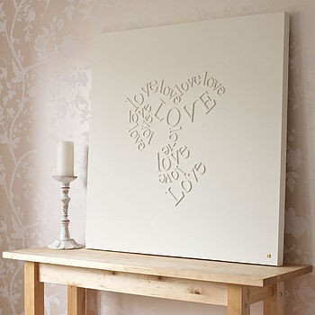 Wooden letters glued to canvas and then painted over in for Wooden letters on canvas