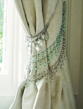 necklaces as curtain ties
