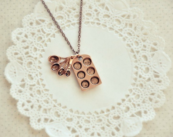 The little baker necklace in antiqued copper