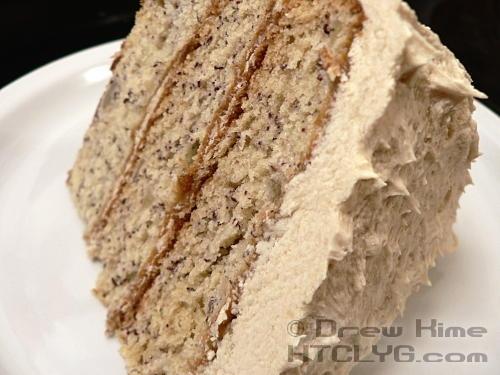 Banana cake with brown sugar buttercream frostingApplePins.com