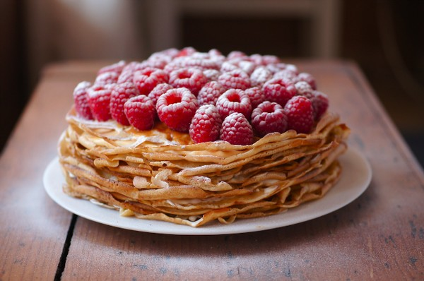 Caramel and raspberry crepe cake