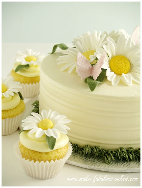 Lemon chiffon Cake and Cupcakes with Lemon Buttercream Frosting