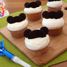 Mickey mouse cupcakes with Oreos and mini Oreos.