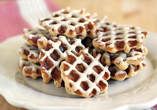 Oatmeal bacon waffle cookies with espresso glaze.