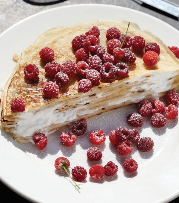 Crêpes With Sweet Yogurt And Raspberry Apricot Sauce: Raspberry And Yogurt With Buttermilk Crepes. So Basically