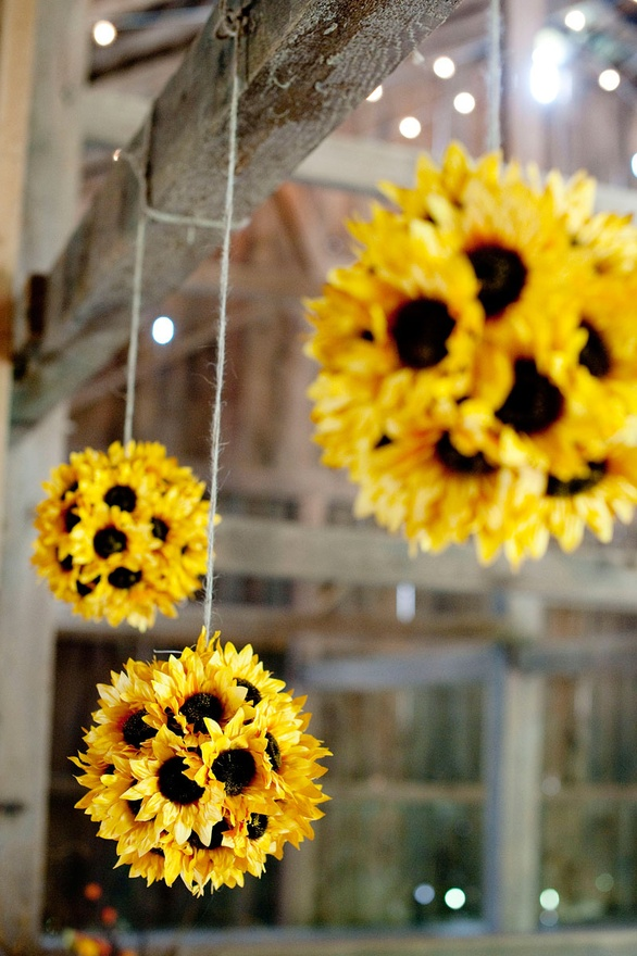 Sunflower Pomander Ball in Yellow with Hanger