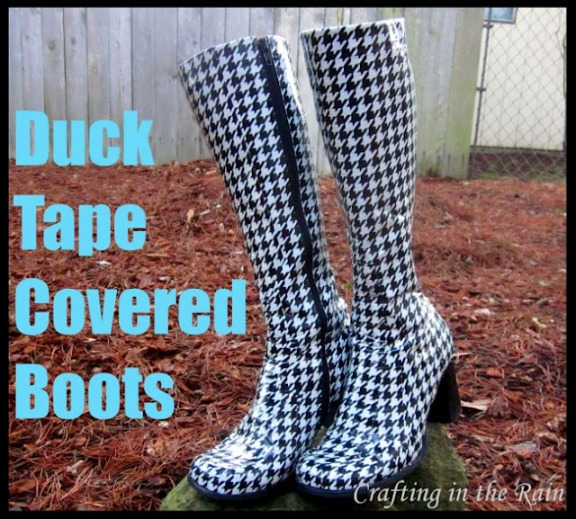 Duck Tape Covered Boots DIY Rain Boots