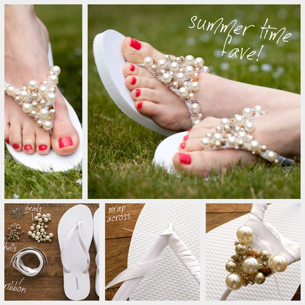 Beaded Flip Flops DIY Tutorial