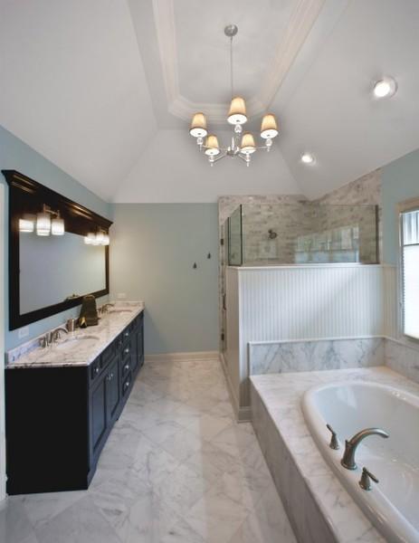 Black cabinets + marble floor/wall tiles