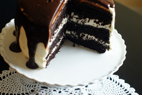 Devil's Food Chocolate Cake with chocolate chip buttercream filling ...