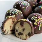 Frozen chocolate chip cookie dough balls.