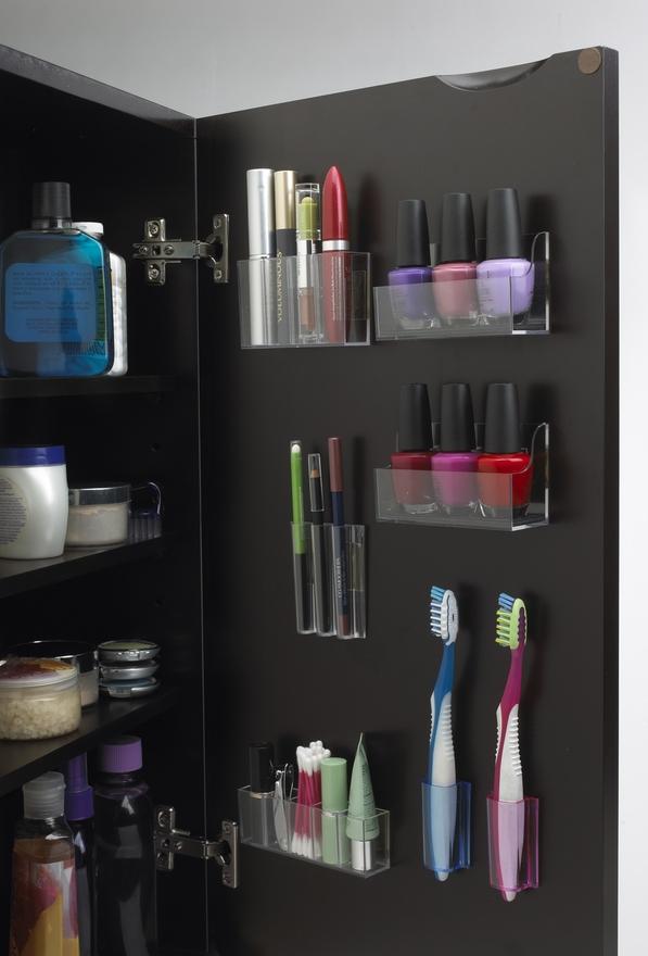 Organized medicine cabinet using Stick On Pods, via @Emily Dennis