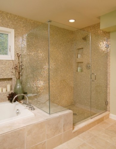 Shower with seat, glass enclosure, fully tiled, separate tub ...