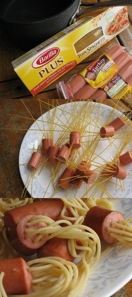 Spaghetti Hot Dogs Kids LOVE these!