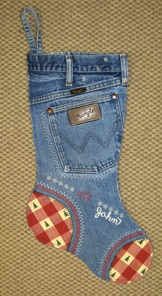DIY Blue jean Christmas stocking tutorial