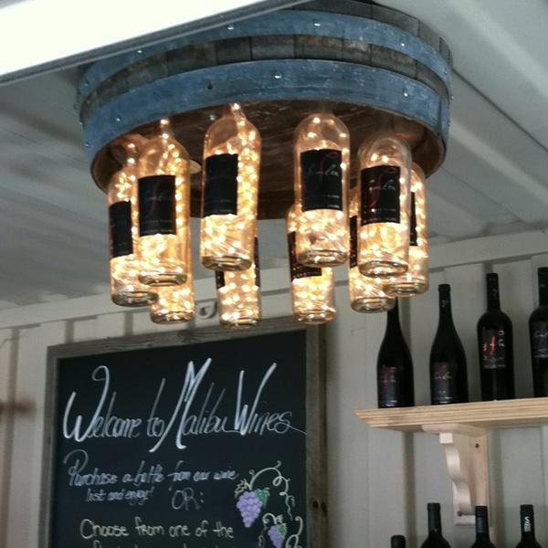 Diy wine barrell wine bottle - Wine bottle light fixture chandelier ...