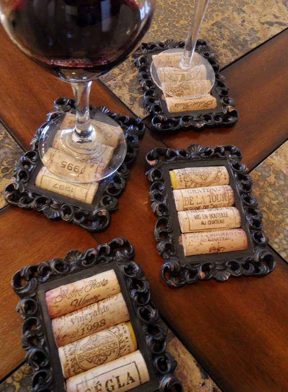 DIY Rustic Cork Coasters Using Small Picture Frames