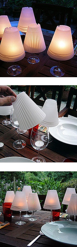 Wine glass tea light candle vellum paper table lamp