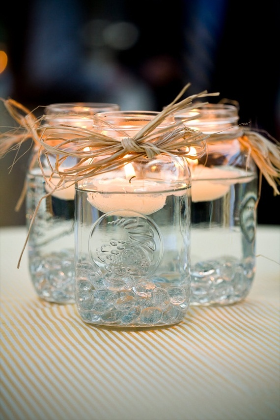 Simple table decorations for a summer outdoor get together.