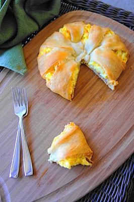 bacon, egg, and cheese wrapped in crescent roll dough – so easy!