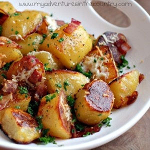 oven roasted potatoes with garlic, parsley, parmigiano, hickory smoked ...