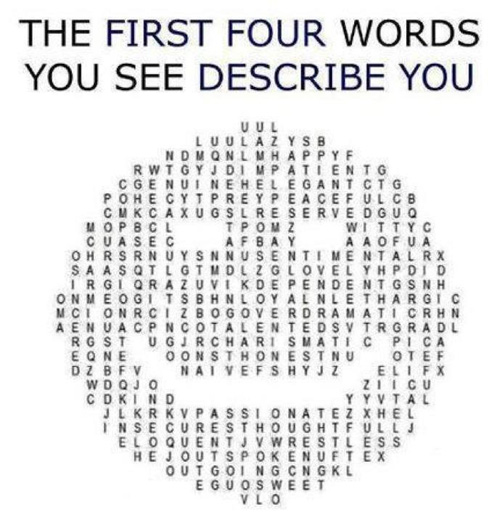 The First Four Words You See Describe You
