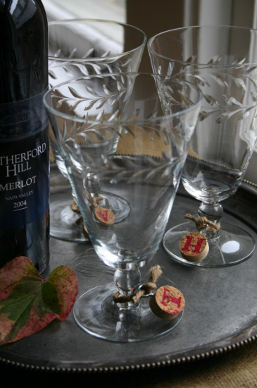 Use wine corks to create wine glass charms.