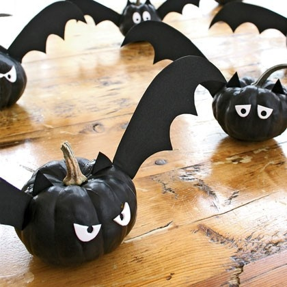 Make Bats from mini pumpkins