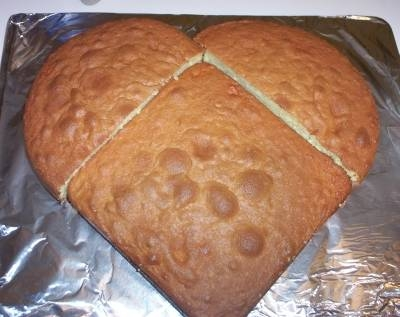 Easy way to make a heart shaped for Easy method of making cake