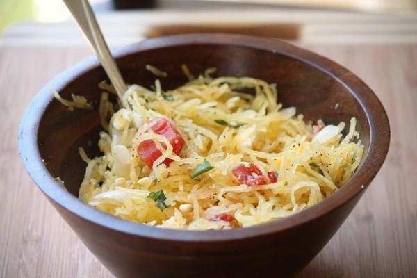 spaghetti squash, olive oil, feta cheese, diced tomatoes, basil ...