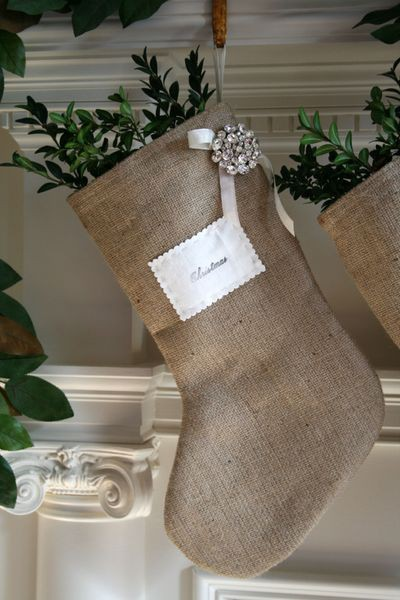 DIY:: burlap stocking with a little bling…love these!