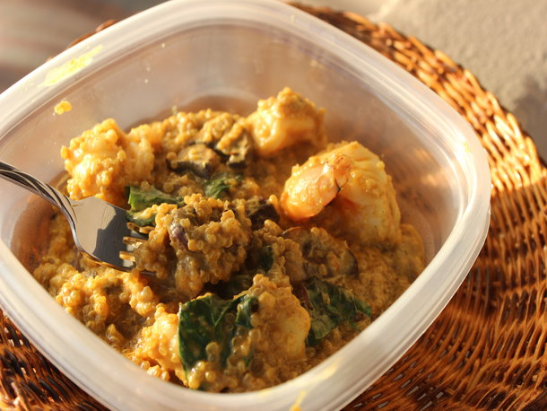 Make-Ahead Curried Coconut Quinoa with Shrimp and Basil
