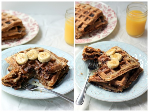 Whole Wheat Coconut Banana Waffles with chocolate chips & roasted almonds