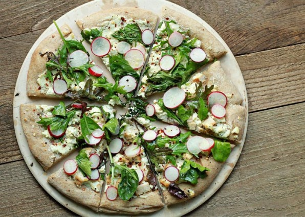 Radish & Goat Cheese Pizza with Spicy Mixed Greens ...