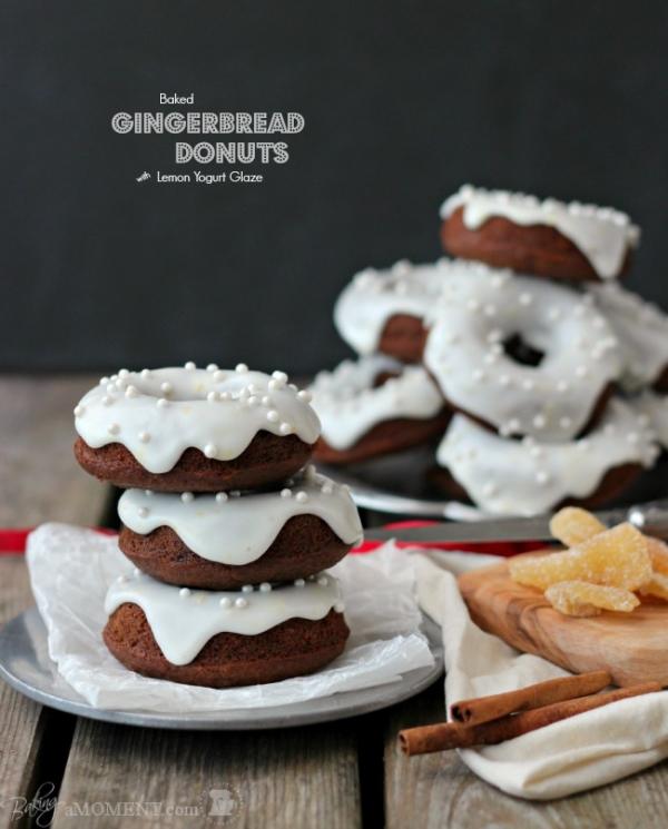 Gingerbread Donuts with Lemon Yogurt Glaze