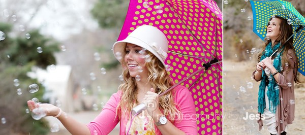 Bubbles + umbrella = SO CUTE!