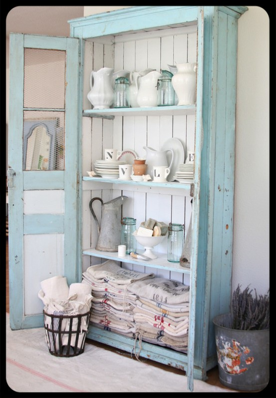 A great shelf with the old ironstone, and look at all those flour sacks!