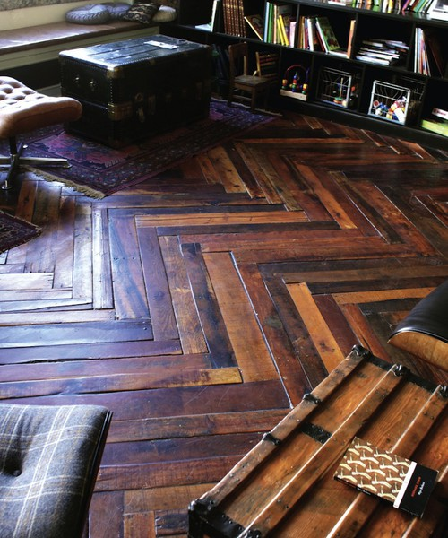 herringbone flooring made from wooden shipping pallets