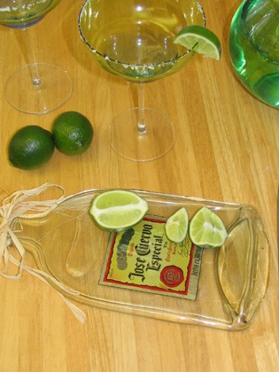 How to flatten bottles make cutting boards or small serving trays, awesome!