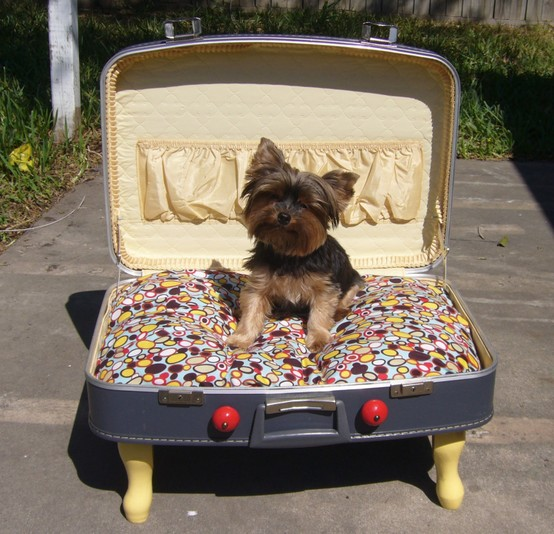 DIY Dog Suitcase Bed