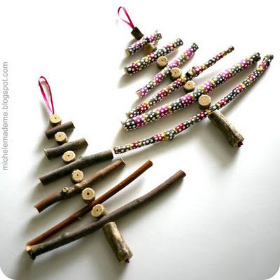 DIY Adorable stick Christmas tree