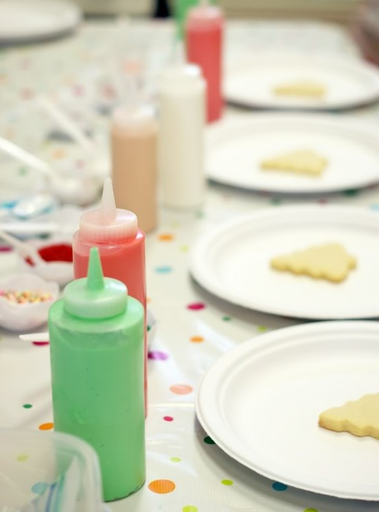 Put icing in squeeze bottles to decorate cookies
